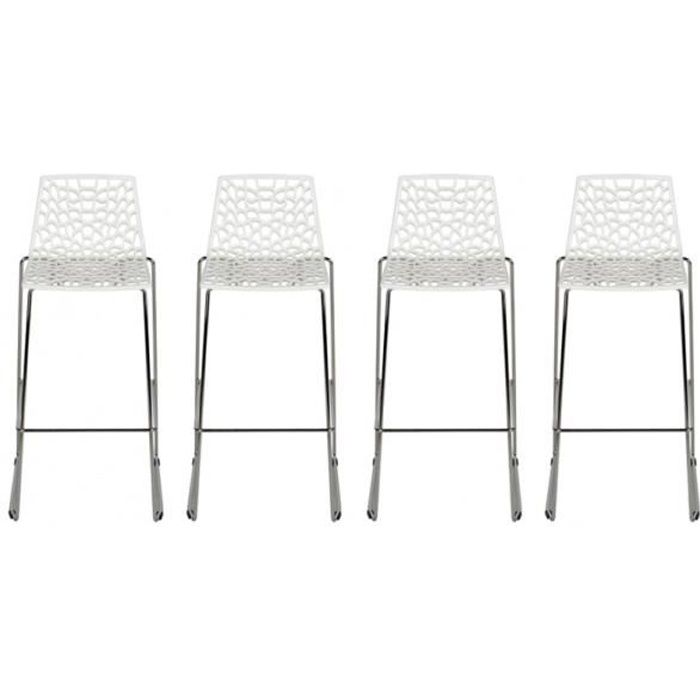 lot de 4 tabourets de bar wilton 4 pieds polypropyl ne blanc dolomite achat vente. Black Bedroom Furniture Sets. Home Design Ideas