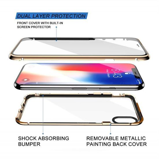 Coque iPhone 11 Pro Max2 en 1 Coque d'adsorption Magnétique avec Protection en Verre Trempé