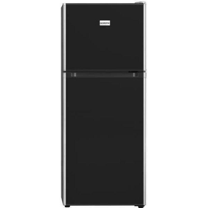 OCEANIC OCEAF2D134B - Réfrigérateur - 134L (95L+39L) - 2 portes - Congélateur haut - Froid statique L 48 x H 126,5cm - Noir Brillant