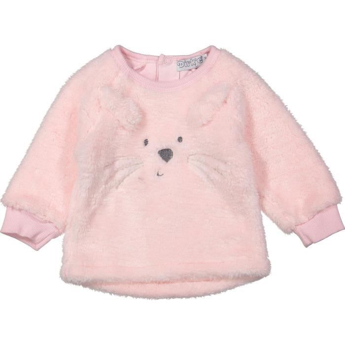 DIRKJE Pull Rose Brodé chat Enfant Fille