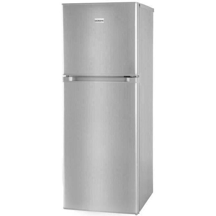 OCEANIC OCEAF2D134S - Réfrigérateur - 134L (95L + 39L) - 2 portes - Congélateur haut - Froid statique L 48 x H 126,5 cm - Silver