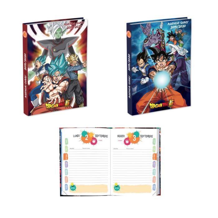 DRAGON BALL SUPER Agenda scolaire 320 pages - 1 jour par page - 120 x 170 mm - Couverture souple pelliculée 2 visuels