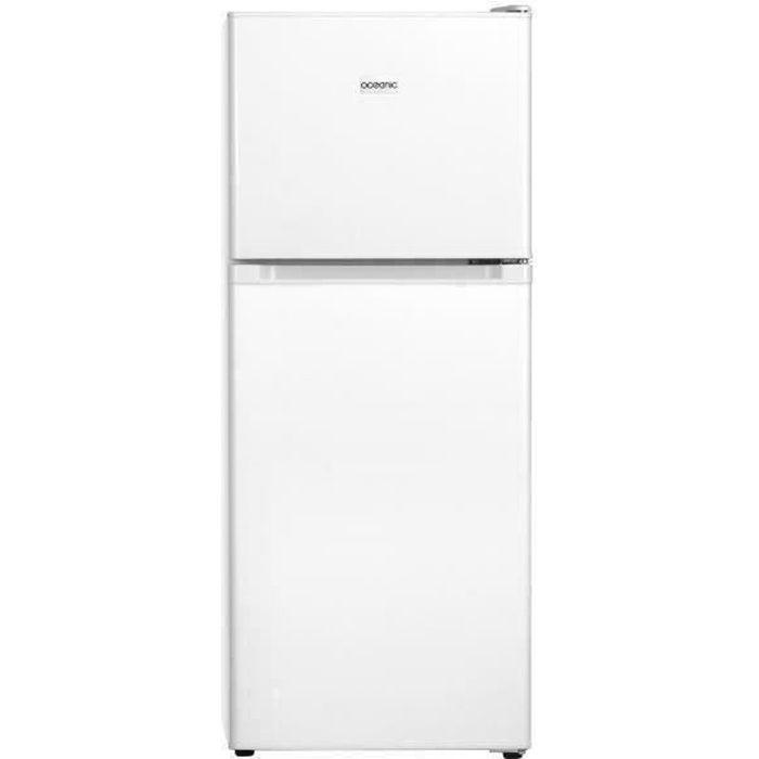 OCEANIC OCEAF2D134W Réfrigérateur - 134L (95L + 39L) - 2 portes - Congélateur haut - Froid statique L 48 x H 126,5 cm - Blanc