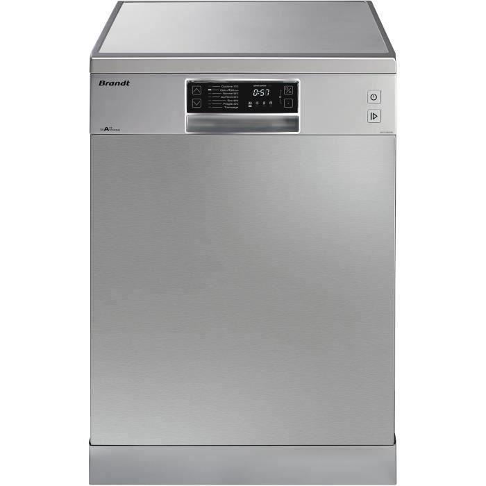 Lave-vaisselle pose libre BRANDT DFH13534X - 13 couverts - Largeur 60 cm - Classe A+++ - 44 dB - Inox/silver