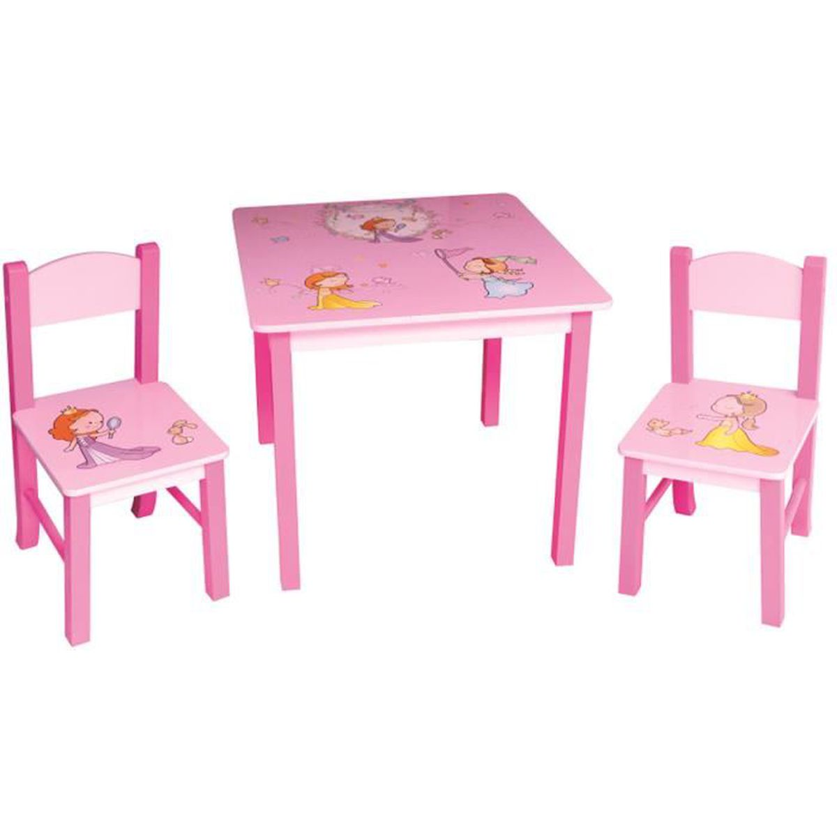 ensemble table et 2 chaises pour enfant en bois coloris rose motif princesse achat vente. Black Bedroom Furniture Sets. Home Design Ideas