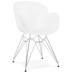CHAISE Chaise moderne 'UNAMI' blanche en matière plastiqu