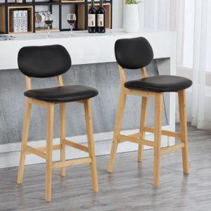 Ihouse Lot de 2/chaises tabourets de bar et comptoir avec dossier et repose-pied Noir