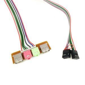 CÂBLE D'ALIMENTATION 2 cas USB pour ordinateur, panneau avant de 6,8 cm