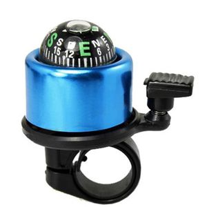 Mini sonnette avec boussole pour bicyclette Noir et bleu WT