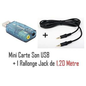 CARTE SON EXTERNE CABLING® Adaptateur USB Audio Carte son 3D 5.1 usb