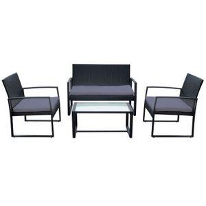 Salon en aluminium table de bistrot 60x60cm 4x Lot Chaise Rotin Synthétique Noir