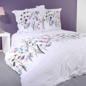HOUSSE DE COUETTE ET TAIES Parure de Couette Fleurie Blanc 240 x 260 cm + 2T