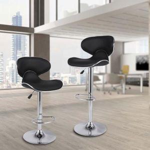 2pcs tabourets de bar WAVE en cuir synthétique Chrome Tabouret Petit Déjeuner Chaise ajuster la hauteur