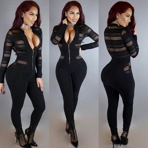 PANTALON DE SPORT Maillot sexy en maille Patchwork Jumpsuit Zipper C