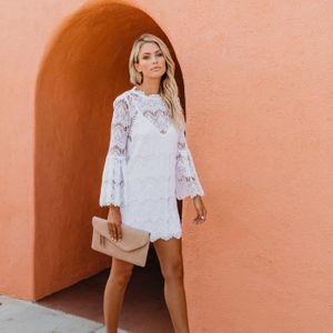 ROBE Mode féminine Flare-Quarts manches O Trois-cou Rob