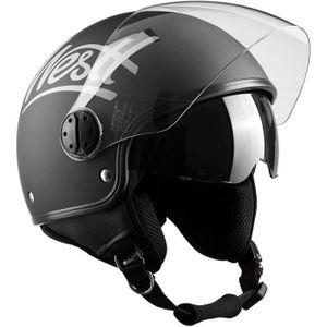Westt/® Razor /· Casque Moto Jet Vintage en Noir Mat pour Scooter Chopper /· Casque de Moto Homme et Femme Demi-Jet /· ECE Homologu/é