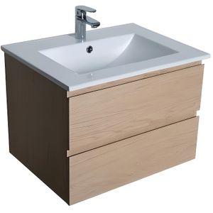 MEUBLE VASQUE - PLAN Meuble salle de bain 60 cm à suspendre chêne SORRE
