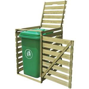 COFFRE D'EXTÉRIEUR Cache-poubelle à une roue imprégné en bois 240 L