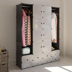 ARMOIRE DE CHAMBRE Cabinet modulable avec 18 compartiments noir et bl