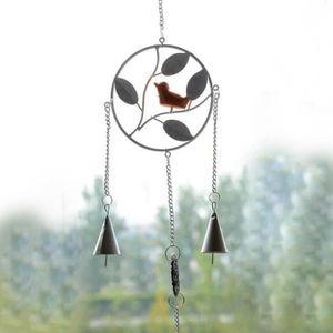 Superbe en métal argenté Oiseau Wind Chime ~ Oiseau Suspendu Décoration