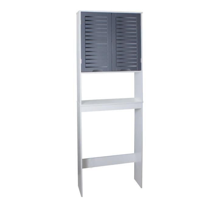 COLONNE - ARMOIRE WC LINDA Armoire WC L 63 cm - Blanc et gris mat
