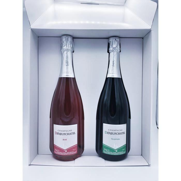 Coffret Satiné Champagne 2 bouteilles 75cl - Direct producteur - Maison Deneufchatel