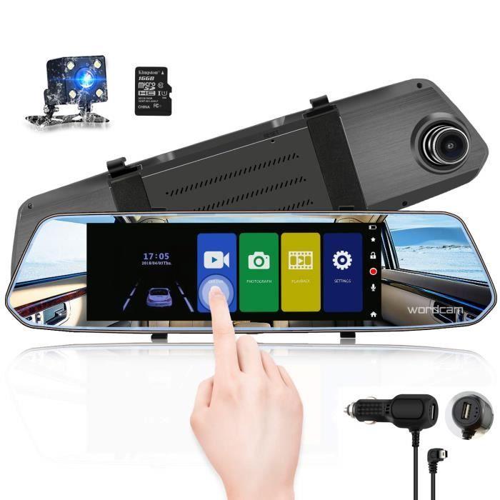 Caméra de recul avec caméra de recul à écran Tactile de 7 Pouces avec caméra de recul 1080p à l'avant et à l'arrière avec caméra