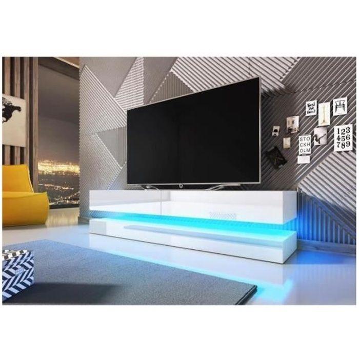 Meuble TV design suspendu FLY 140 cm à 2 tiroirs, coloris blanc mat et blanc brillant brillant + led Blanc
