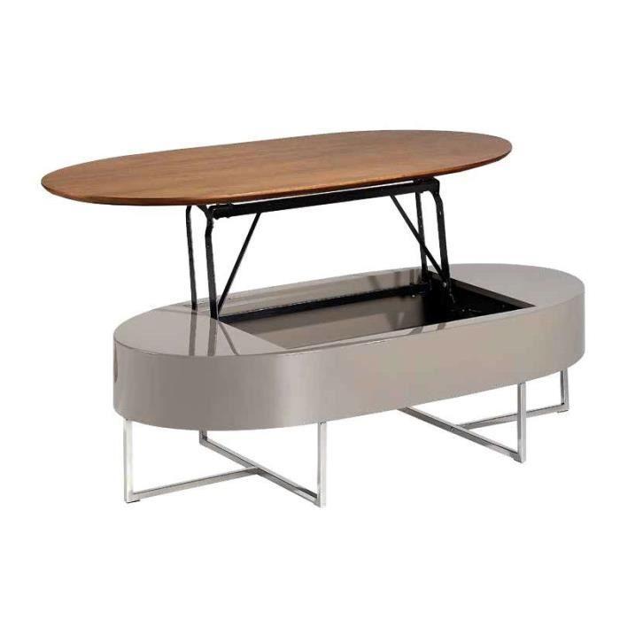 Table basse relevable couleur noyer et laqué taupe CALISTA