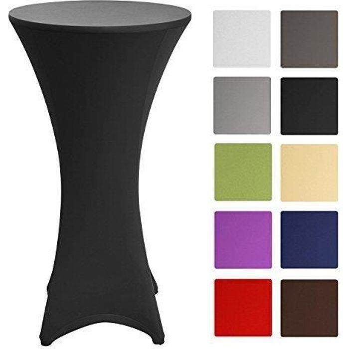 Beautissu Housse de table bistrot 60-65cm Noir - Mange debout - Deco Cocktail - Stretch spandex - Stella
