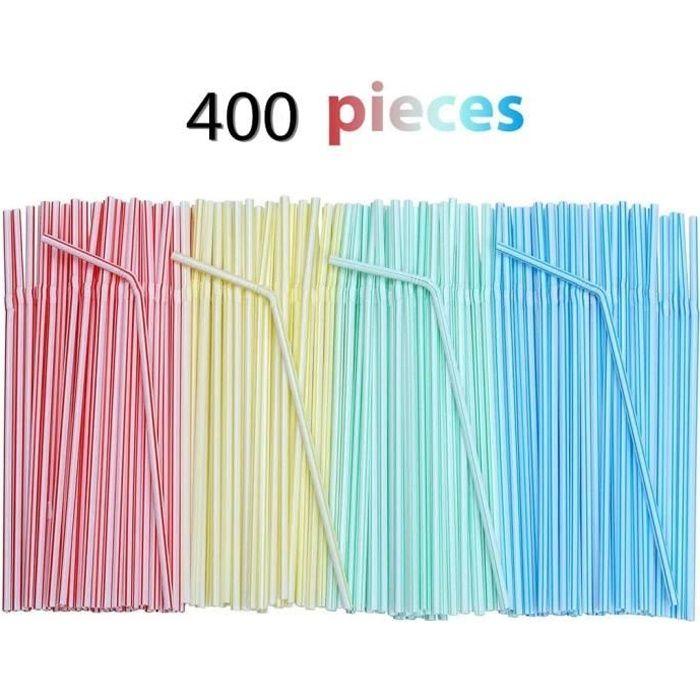 400 PCS Pailles Jetables en Plastique, Adaptées à Diverses Boissons, Cocktails, Smoothies, Jus—Matériel De Sécurité