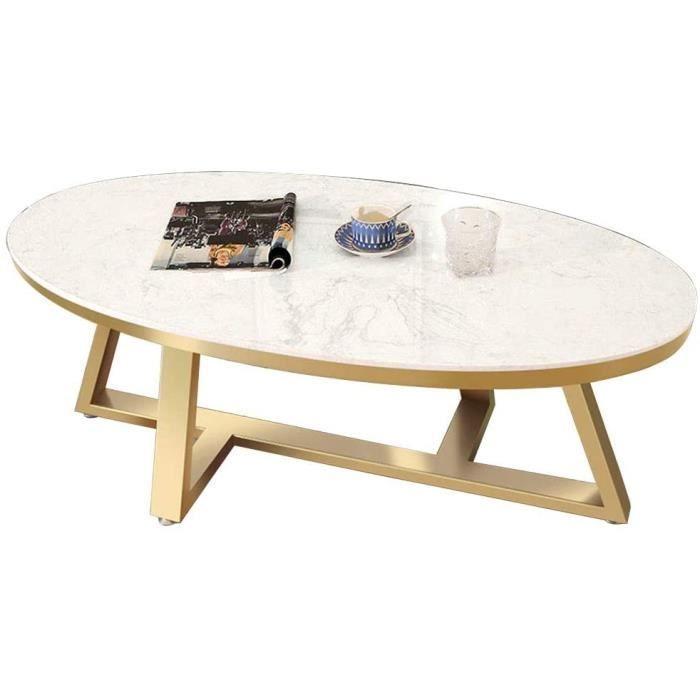 Salon Table Basse en Marbre Ovale en Acier Inoxydable Canapé Table D'appoint Meuble Moderne Simple Petit Appartement, Ca e Or Irr218