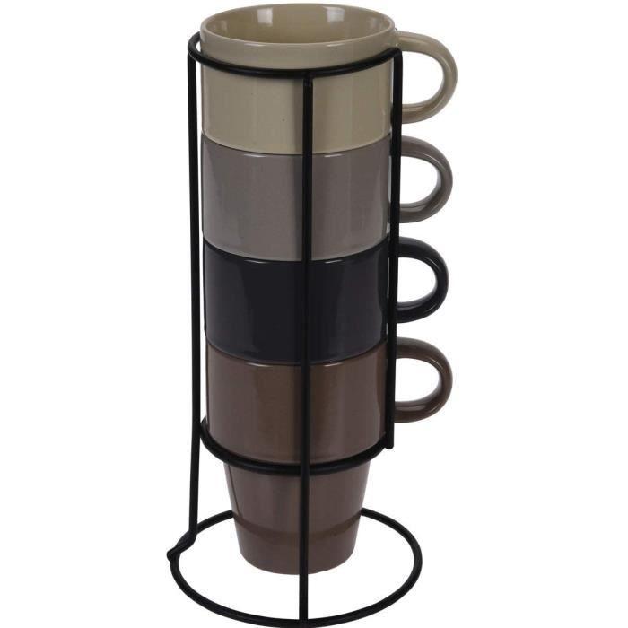 Set De 4 Grès Tasses en Métal Plate-Forme Grand Empilage Tasses Café Tasse