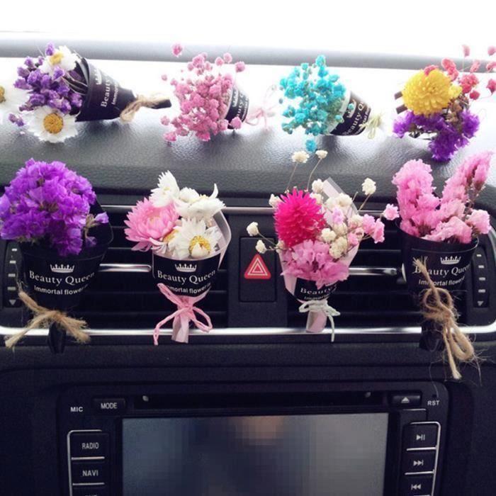 Air Vent Freshener Fleurs séchées Bleu Blanc Rose Violet gypsophile pour Air purifiant Stress Décor voiture Soulager LIA12357