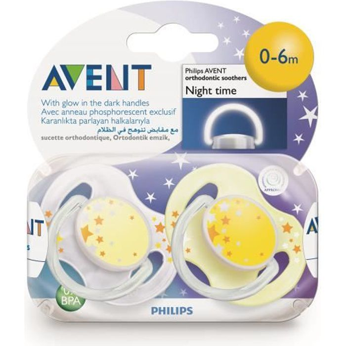 Avent 2 Sucettes Orthodontiques Silicone Night Time 0-6 Mois