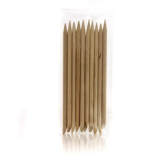 Bâtonnet manucure bois 95mm x10 Beautélive - Accessoires manucure Ongles