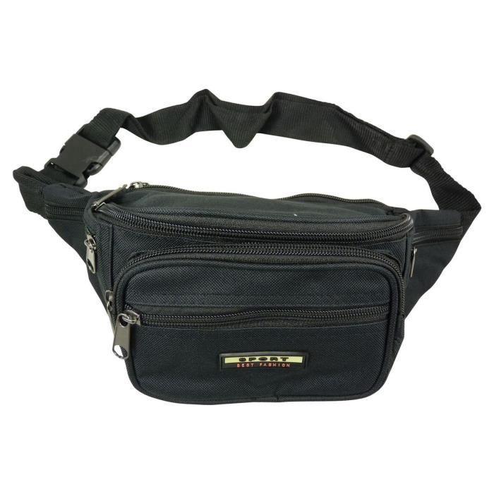 Sac sacoche pochette banane nylon (6 poches à fermeture éclair) - Noir