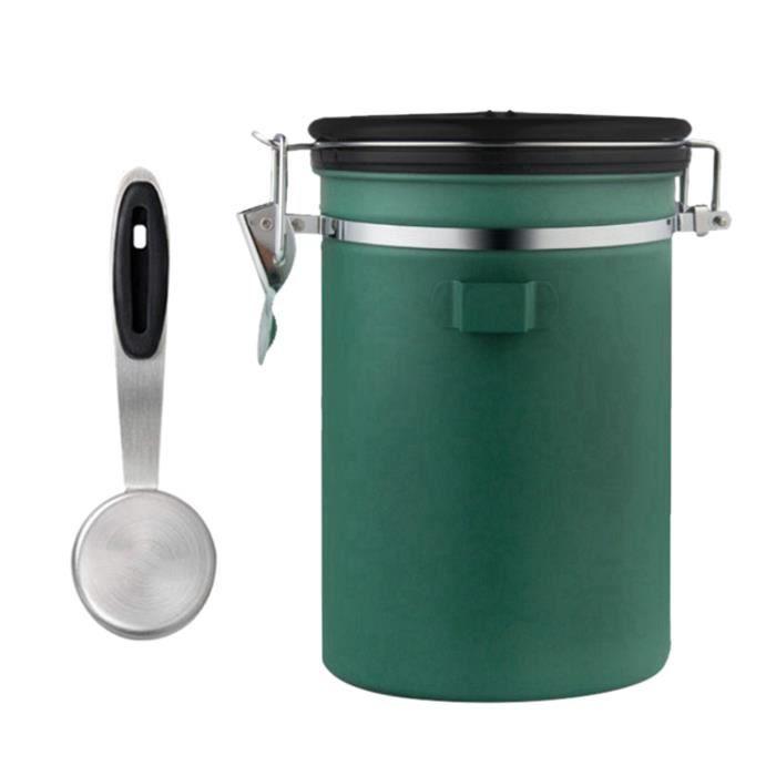 Café Thé Boîte à Sucre Cuisine Sec Alimentaire Conteneur de Stockage Pot Hermétique avec Scoop Vert 1800ml