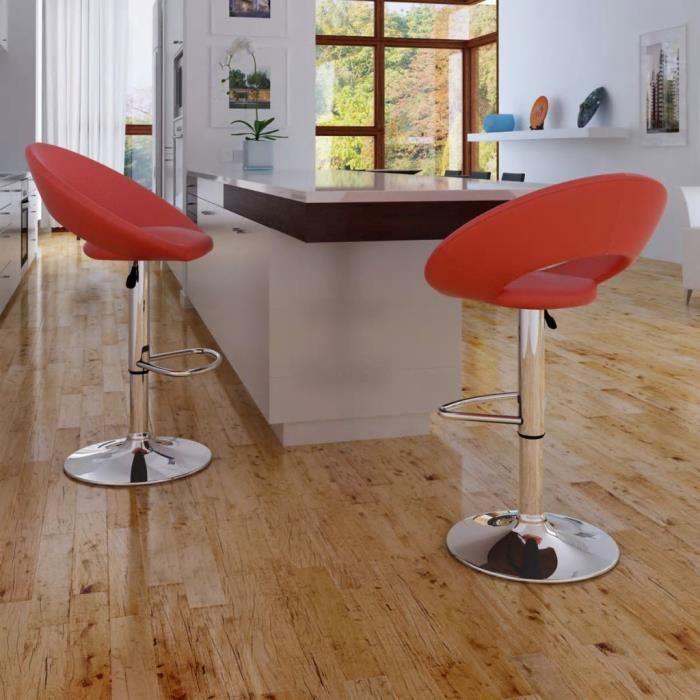 Lot de 2 tabourets de bar en Similicuir - Hauteur réglable - H 57,5 - 78,5 cm - Design moderne - avec Repose-pied chromé - Rouge