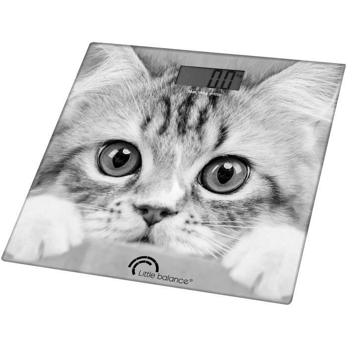 LITTLE BALANCE 8335 Paysage, Pèse-personne, balance électronique, 180 kg / 100 g, Design -The Cat-