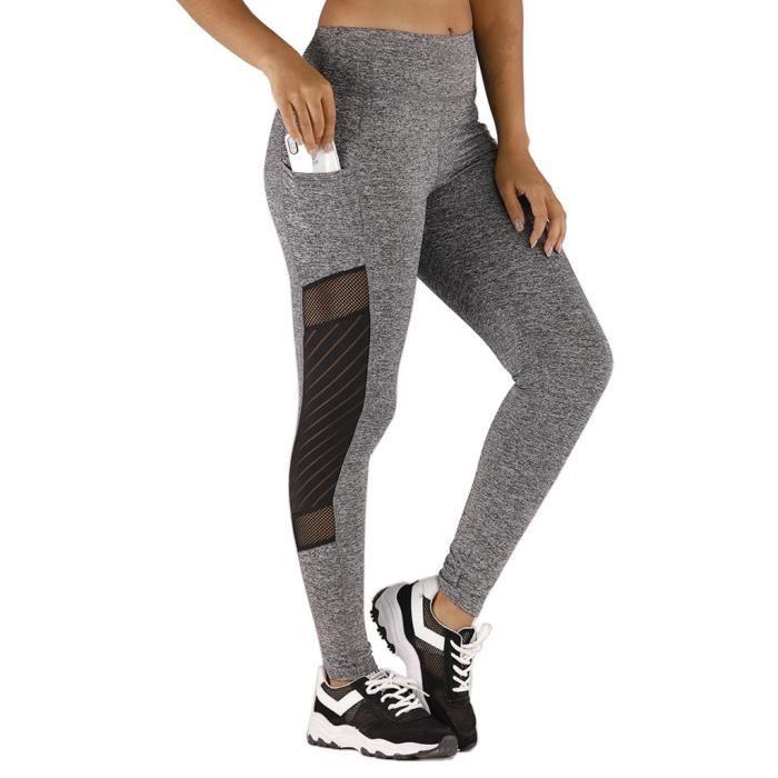 PANTALON Fashion Ladies Gauze Pocket Elastic Exercise Fitness Running Yoga Pants ZHB91204492GYM_118