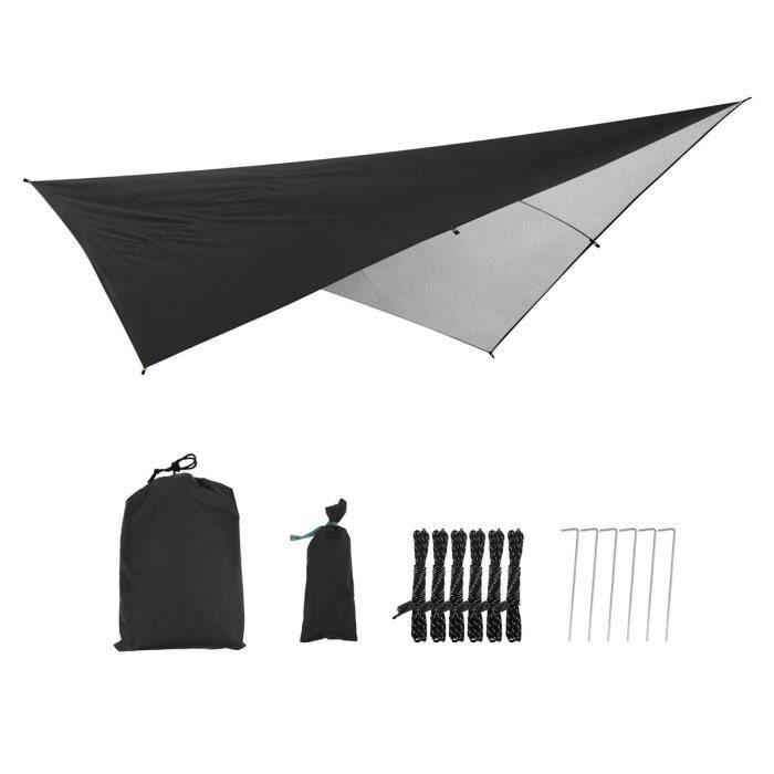 Parasol Mat Imperméable Indice PU2000mm 290x290CM 210T Polyester Tissu extérieur Noir revêtement