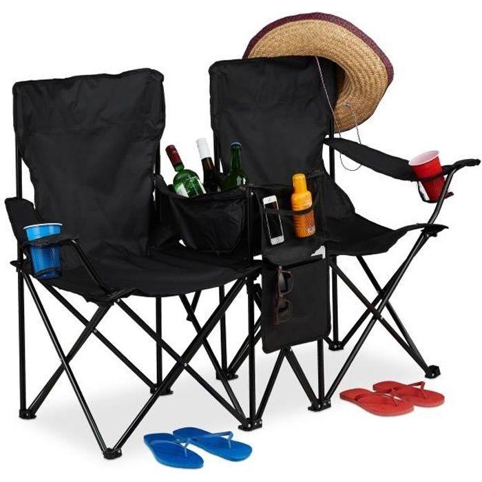 Relaxdays Chaise de camping double, Fauteuil de jardin 2, Pliable, Glacière, Rangement porte-boissons - 4052025929350