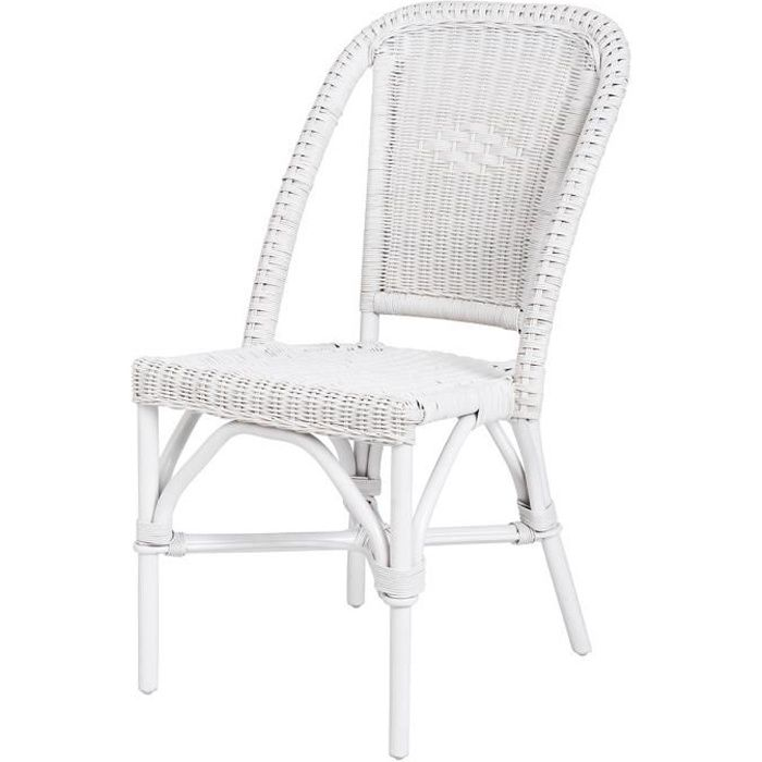 Chaise Selva blanche laquée - rotin