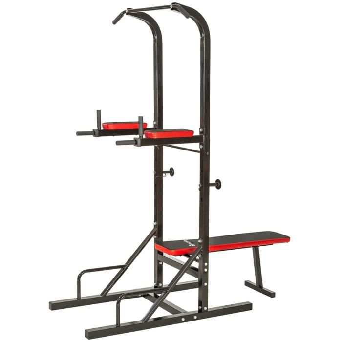 TECTAKE Banc de musculation pliable multifonction DIPS, Barre de traction, Banc d'haltère