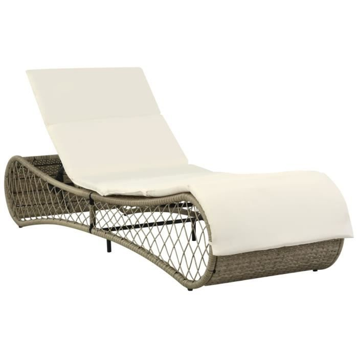 Chaise longue avec coussin Gris/Beige Résine tressée - Meubles/Meubles de jardin/Sièges d'extérieur/Bains de soleil - Multicolore -