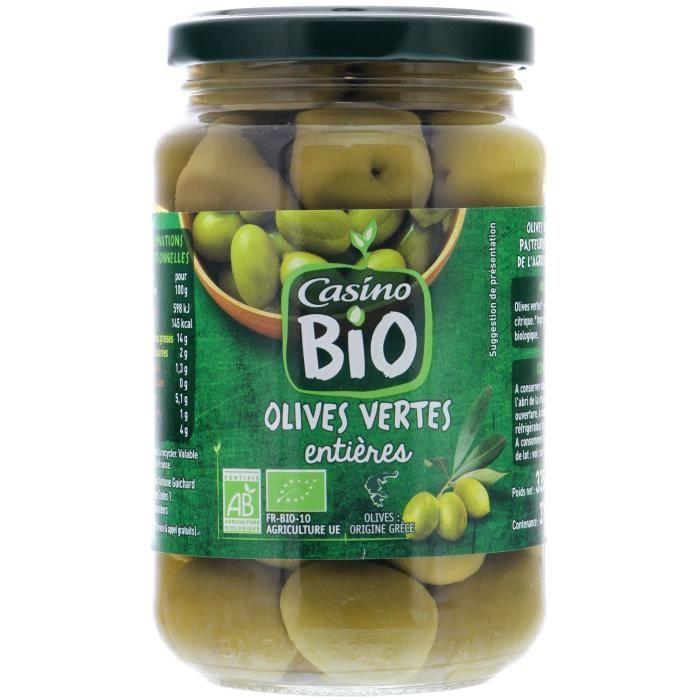 CASINO BIO Olives vertes entières - 37cl