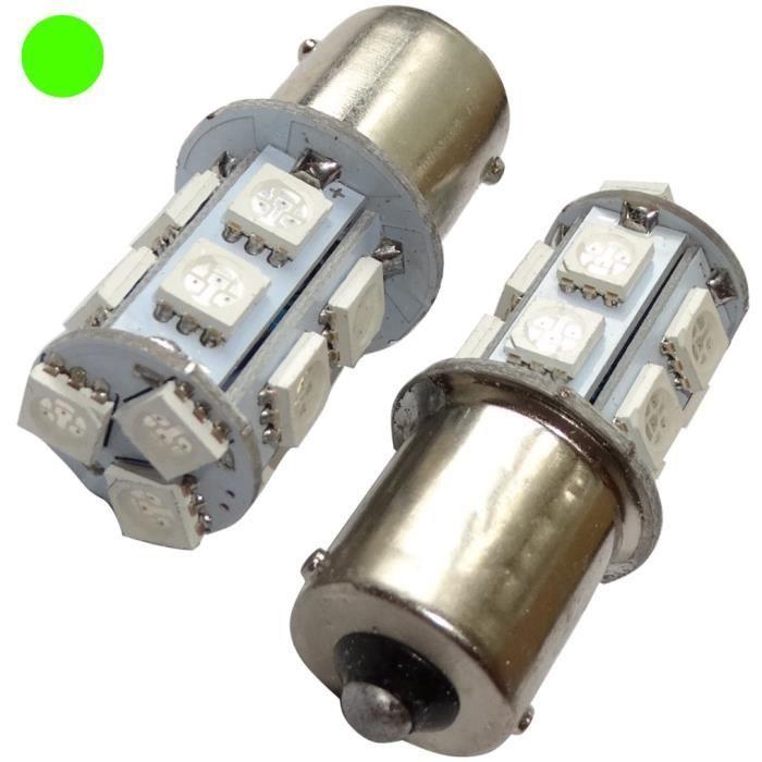 2X Ampoule 24V P21W R10W R5W 9LED Vert pour Camion Semi-remorque Porte de Garage Portail AERZETIX