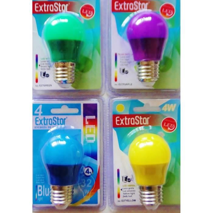 AMPOULE - LED Lot de 4 ampoules E27 LED assortiment 4 couleurs 4