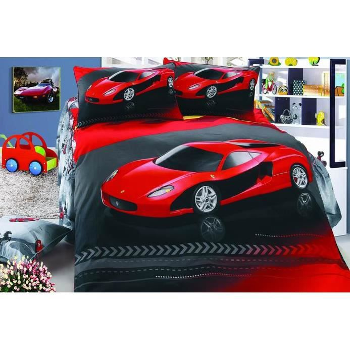 amazing lm parure de lit enfant rouge ferrari coton with. Black Bedroom Furniture Sets. Home Design Ideas